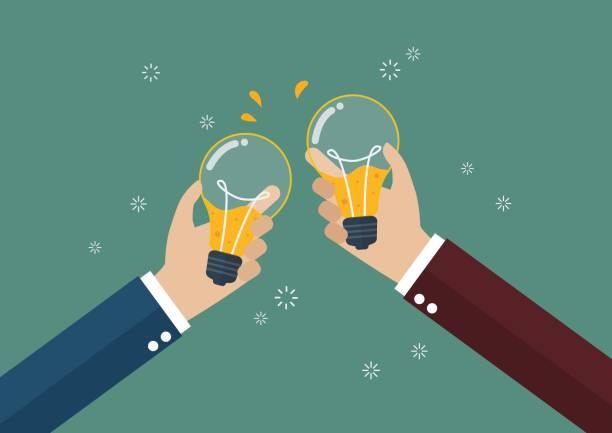 illustrazioni stock, clip art, cartoni animati e icone di tendenza di businessmen toasting a lightbulb with beer inside - banchi scuola