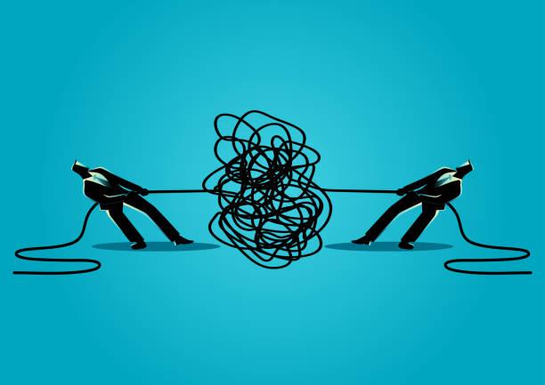 geschäftsleute, die versuchen, verworrenen seil oder kabel zu entwirren - strickideen stock-grafiken, -clipart, -cartoons und -symbole