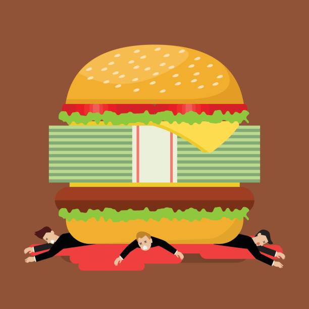 businessmen under hamburger crisis - vegetable blood stock illustrations, clip art, cartoons, & icons