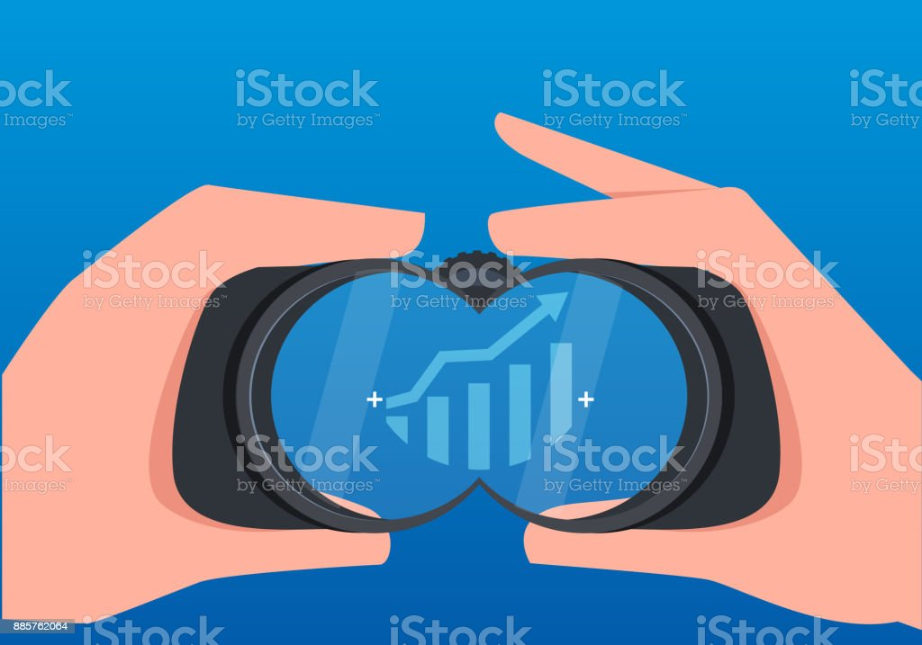 Businessmen use telescopes to observe the growth of business data vector art illustration