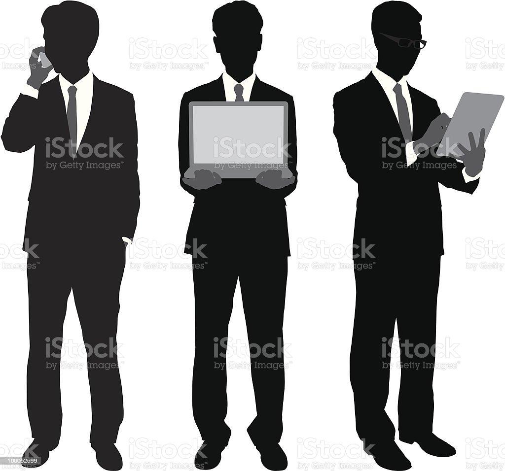 携帯機器を使用するビジネスマン - 3人のベクターアート素材や画像を多数