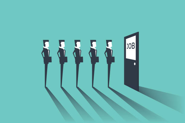 businessmen waiting for job interview. simple concept with working situation, recruitment or hiring. - unemployment stock illustrations