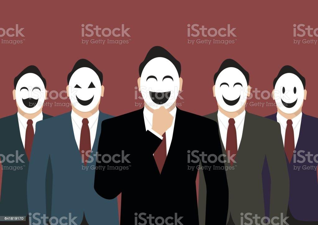 Businessmen wearing a various mask vector art illustration
