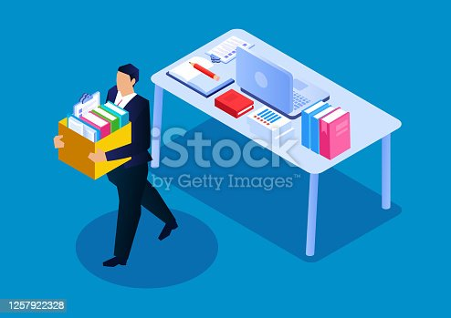 istock Businessmen were fired, unemployment crisis and fewer employees 1257922328