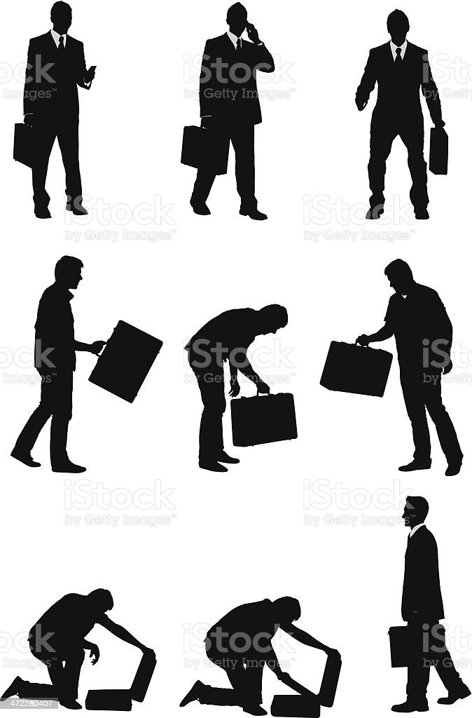 Businessmen with briefcases vector art illustration