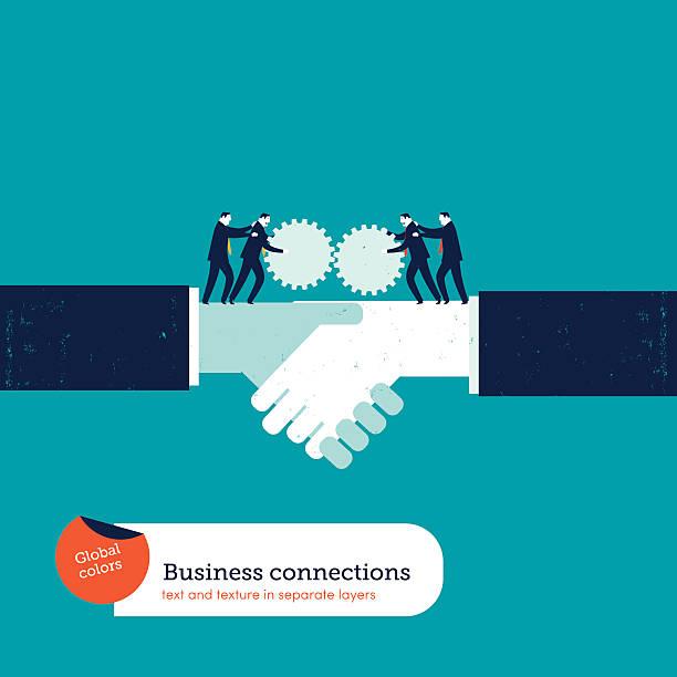 Businessmen with gears on a handshake vector art illustration