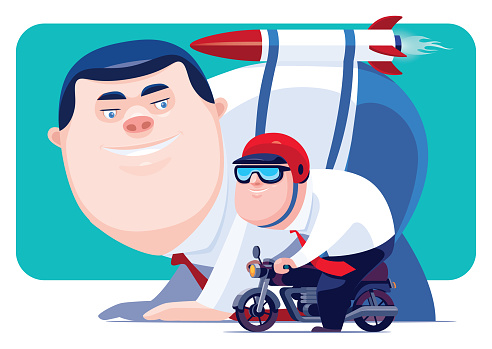 businessmen with launching rocket racing with motorcycle rider