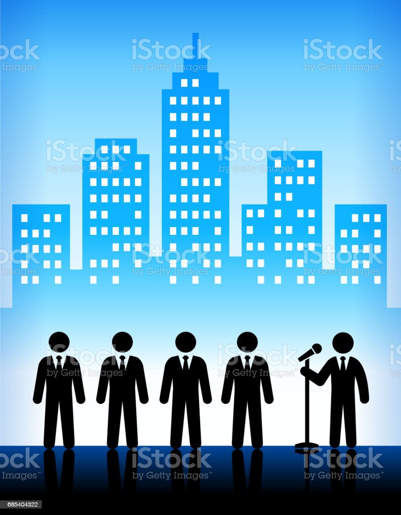 Businessmen with Microphone on  Modern City Background businessmen with microphone on modern city background - arte vetorial de stock e mais imagens de adulto royalty-free