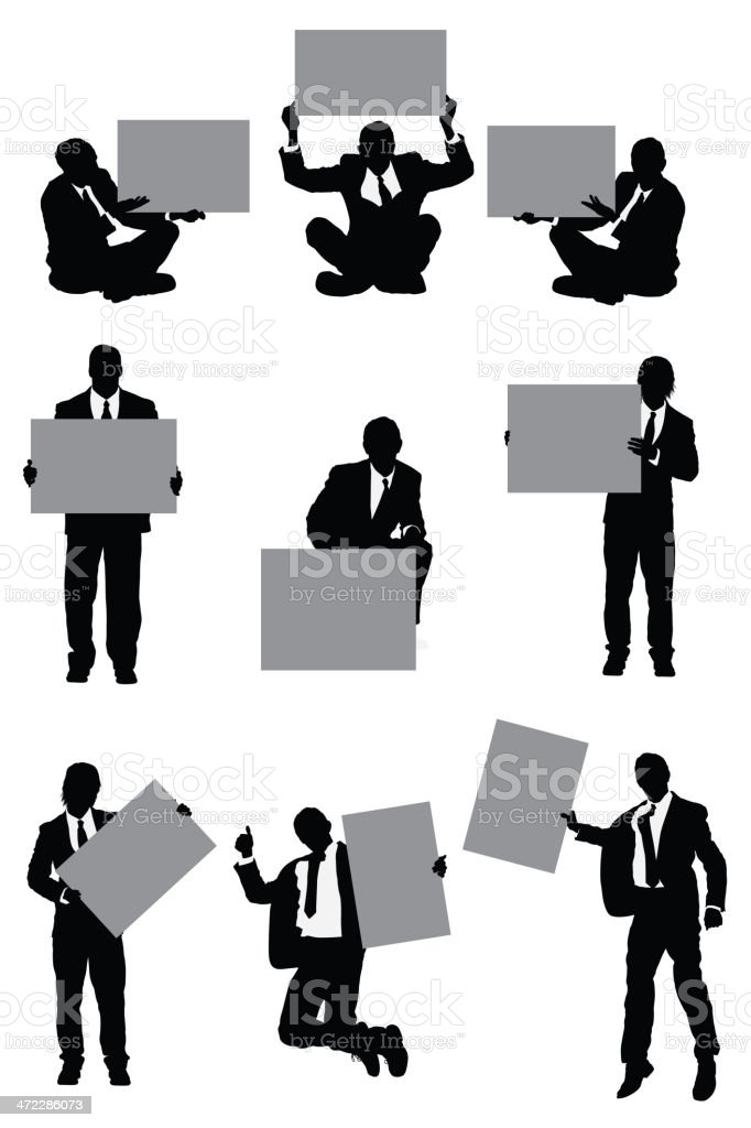Businessmen with placards royalty-free stock vector art