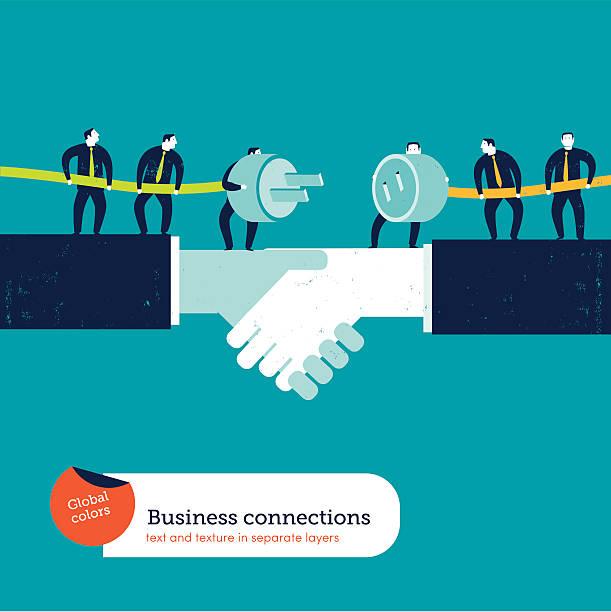 Businessmen with plug and socket on a handshake vector art illustration
