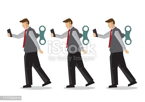 Businessmen with winder in their back. Concept of technology addiction, bad habit or robot employee. Flat isolated vector illustration.
