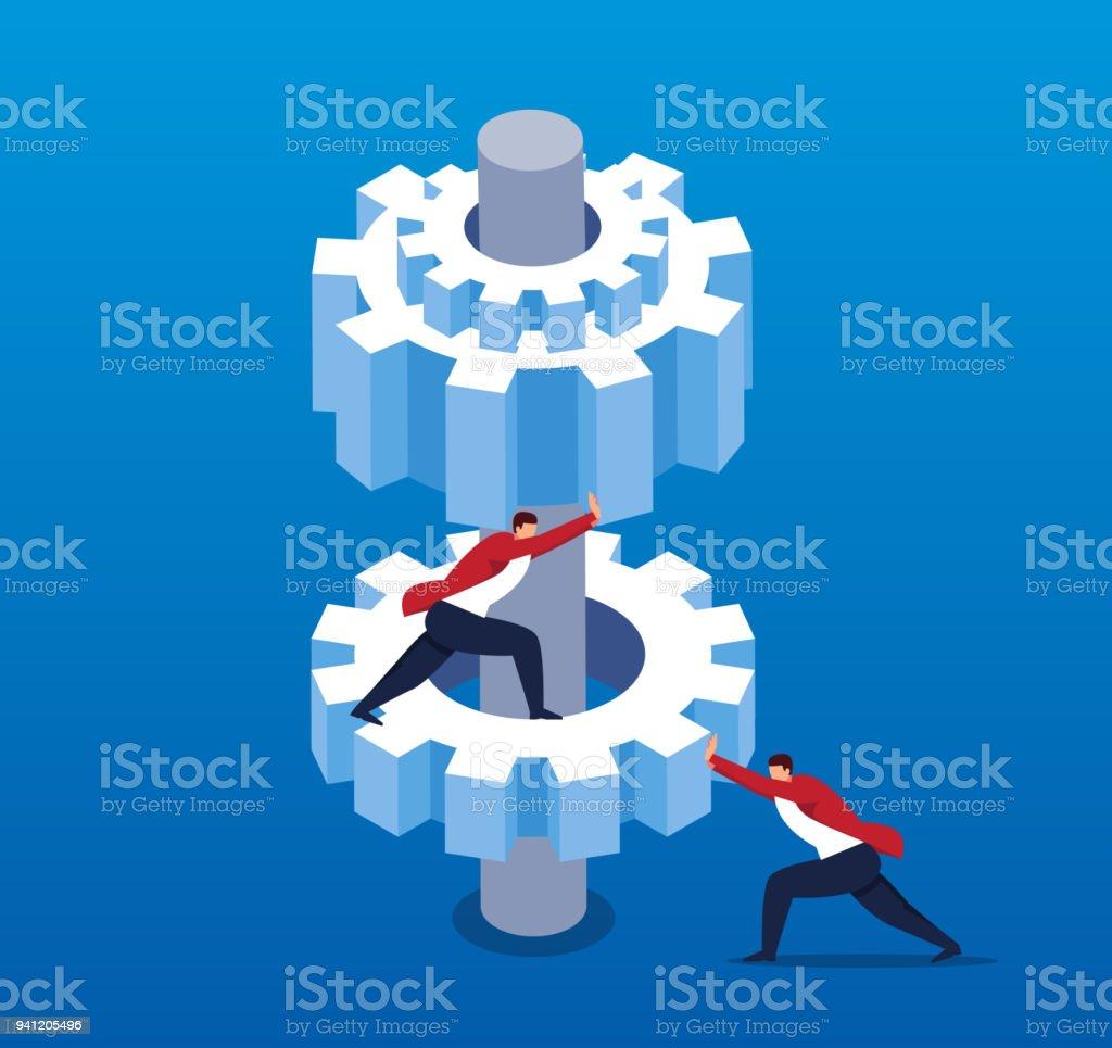Businessmen work together to push gears vector art illustration