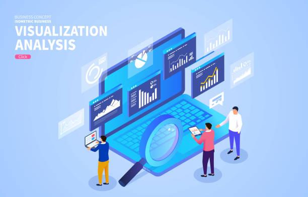 Businessmen-Analyse von Webseiten und Dateninteraktion, das Konzept der Geschäftsdatenvisualisierung – Vektorgrafik