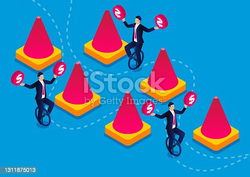 istock Businessmen's unicycle training to overcome obstacles, business skills challenge training and self-improvement 1311875013