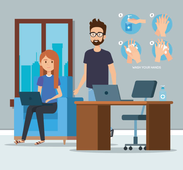 Businesspeople at office and hands sanitizer vector design vector art illustration