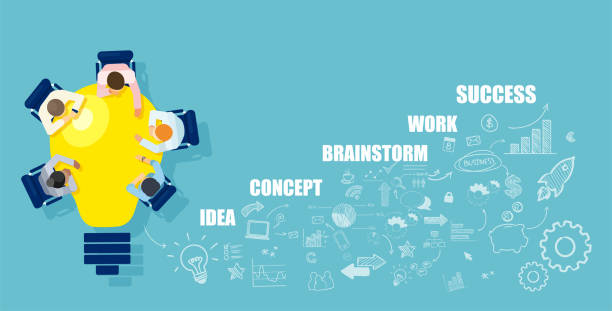 Businesspeople brainstorming successful startup idea sitting at table in a shape of bright light bulb Business people brainstorming successful startup idea sitting at table in a shape of bright light bulb collaboration stock illustrations
