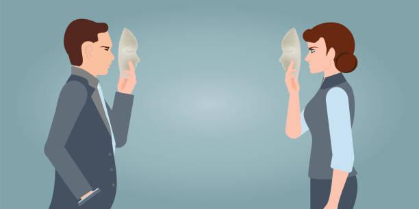 illustrazioni stock, clip art, cartoni animati e icone di tendenza di businesspeople carrying mask to his body indicating business fraud and faking business partnership. - donna si nasconde