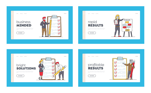Businesspeople Characters with Checklist Landing Page Template Set. Scheduling Planning with Check List. Business People
