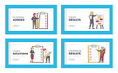 Businesspeople Characters with Checklist Landing Page Template Set. Scheduling Planning with Check List. Business People Filling Check Boxes on Document with Marks. Linear Vector Illustration