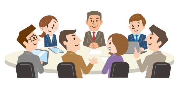 illustrazioni stock, clip art, cartoni animati e icone di tendenza di businesspeople discussing together in conference room during meeting at office - solo giapponesi