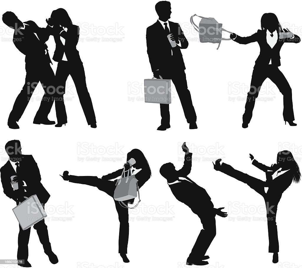 Businesspeople fighting royalty-free stock vector art