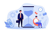 Businesspeople following time table near hour glass. Freelancer working in morning, using laptop under clock. Vector illustration can be used for time management, chronometer, planning day concept