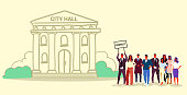 businesspeople group holding protest placard signboard people crowd standing together demonstration concept municipal government building city hall sketch doodle horizontal full length vector illustration