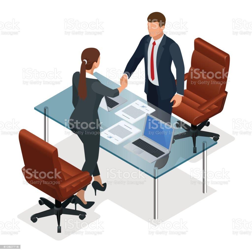 Handshaking de empresários após negociação ou entrevista no escritório. Conceito de parceria produtiva. Ilustração em vetor isométrica negócios confronto construtiva - ilustração de arte em vetor