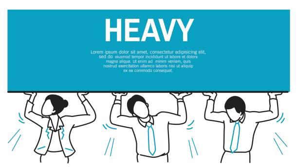 illustrazioni stock, clip art, cartoni animati e icone di tendenza di businesspeople hard to carry heavy burden - portare
