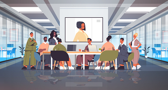 businesspeople having online conference mix race business people discussing with businesswoman during video call