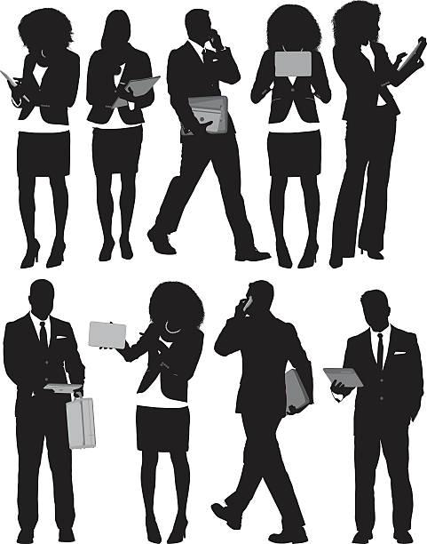 stockillustraties, clipart, cartoons en iconen met businesspeople in various actions - business woman phone