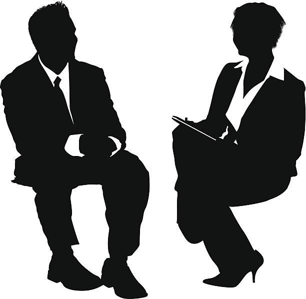 bildbanksillustrationer, clip art samt tecknat material och ikoner med businesspeople job interview - job interview