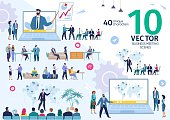 Business Company Employees Team Life Scenes and Work Situations, Office Meeting, Project Strategy Presentation, Investors Negotiation, Planning Expansion Concepts Trendy Flat Vector Illustrations Set
