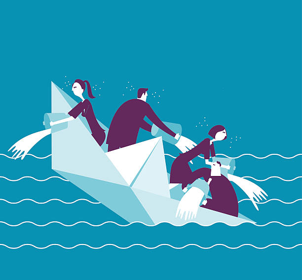 illustrations, cliparts, dessins animés et icônes de businesspeople on a sinking boat - naufrage