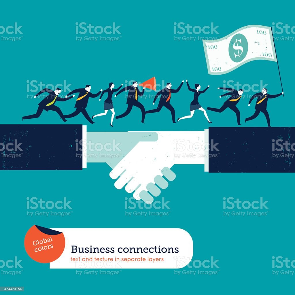 Businesspeople on handshake with a leader with 100 dollar flag vector art illustration