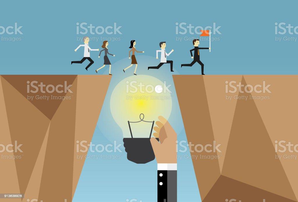 実行しているビジネスマンやアイデア ベクターアートイラスト