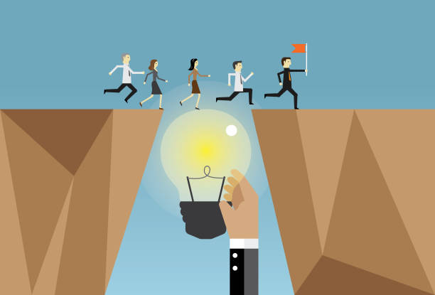 businesspeople running and ideas - good bye stock illustrations, clip art, cartoons, & icons