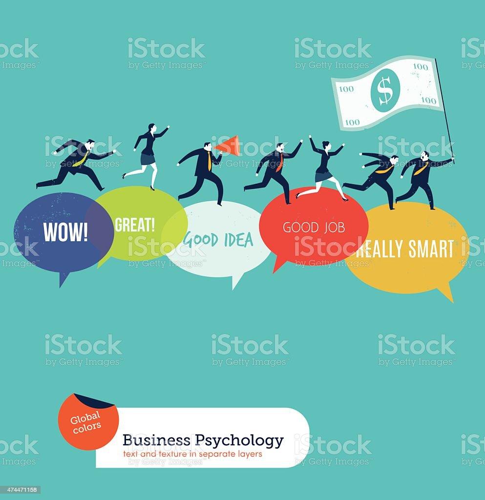 Businesspeople running on motivated speech bubbles vector art illustration