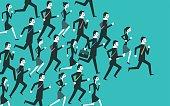 Businesspeople running