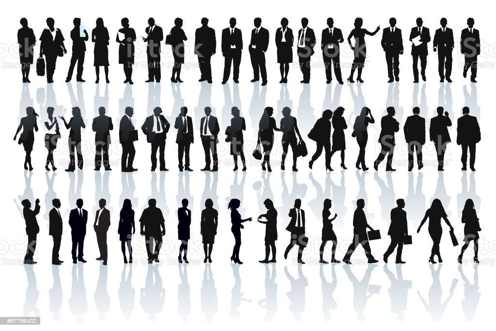 Silhuetas de empresários - ilustração de arte em vetor