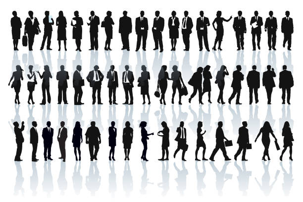 businesspeople silhouettes - standing stock illustrations