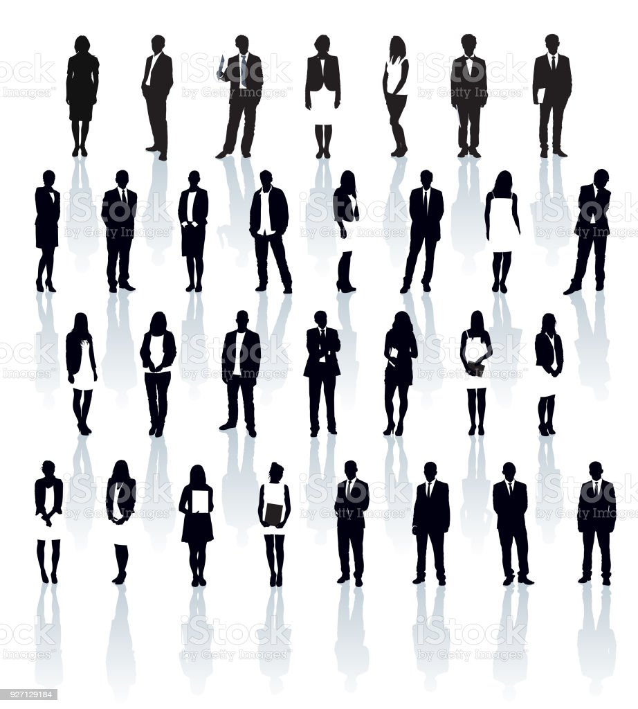Businesspeople silhouettes vector art illustration