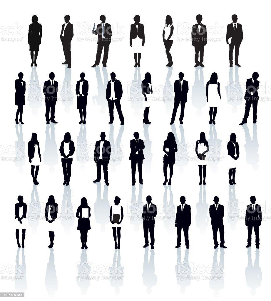 Businesspeople silhouettes vector art illustration