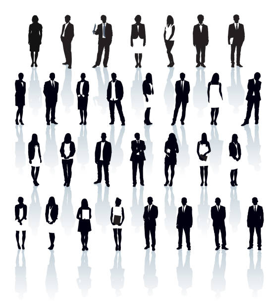 businesspeople silhouettes - professional women stock illustrations, clip art, cartoons, & icons