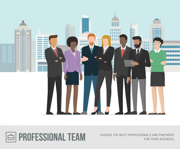 businesspeople standing together - business people stock illustrations, clip art, cartoons, & icons