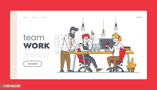 Businesspeople Teamwork Landing Page Template. Business Characters Work Together Developing Creative Ideas. Office Employees Cooperation, Partnership or Brainstorm. Linear People Vector Illustration
