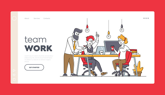 Businesspeople Teamwork Landing Page Template. Business Characters Work Together Developing Creative Ideas, Cooperation
