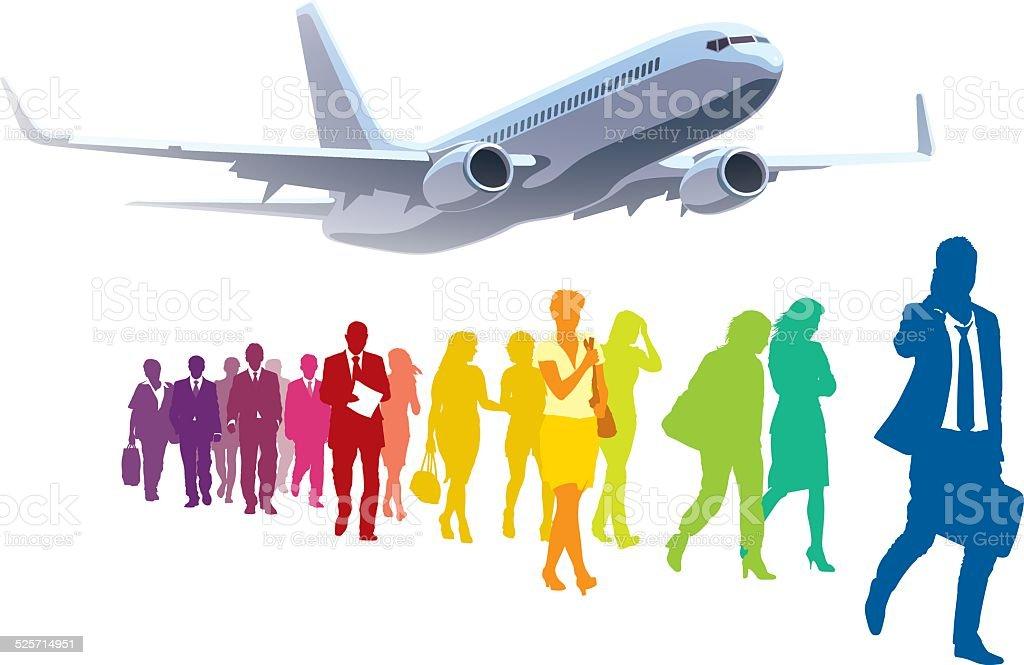 Businesspeople traveling vector art illustration