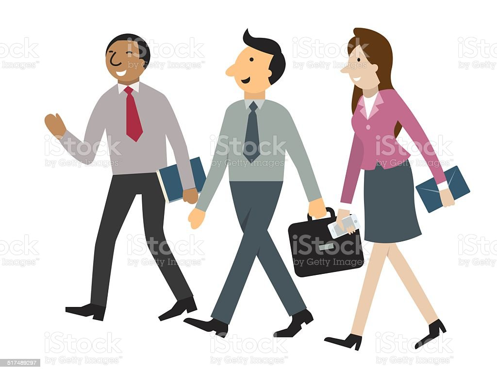 Businesspeople walking and talking vector art illustration