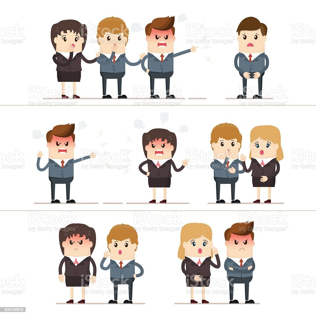 businesspeople were driving a wedge between businessman and businesswoman vector art illustration